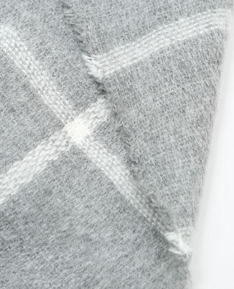 Echarpe plaid à carreaux gris