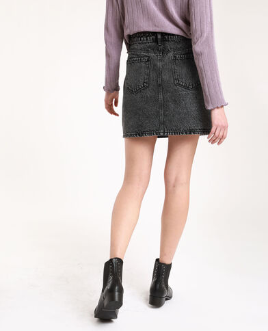 Jupe en jean effet usé noir