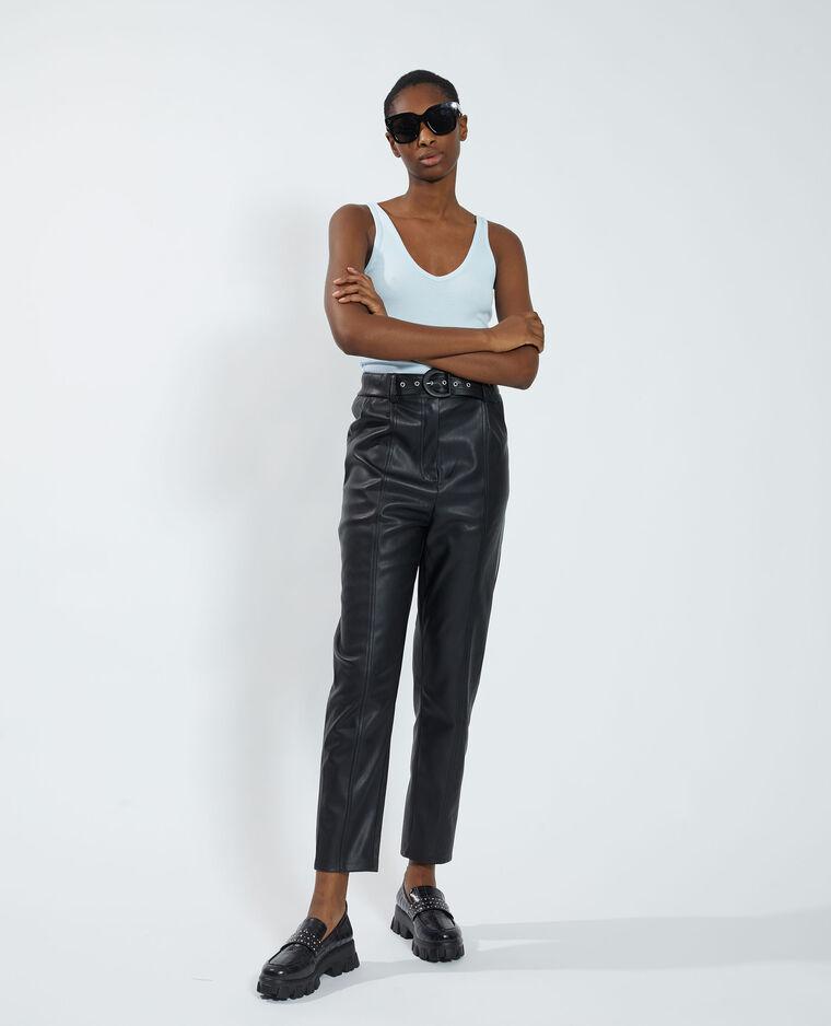 Pantalon carotte en simili cuir noir - Pimkie
