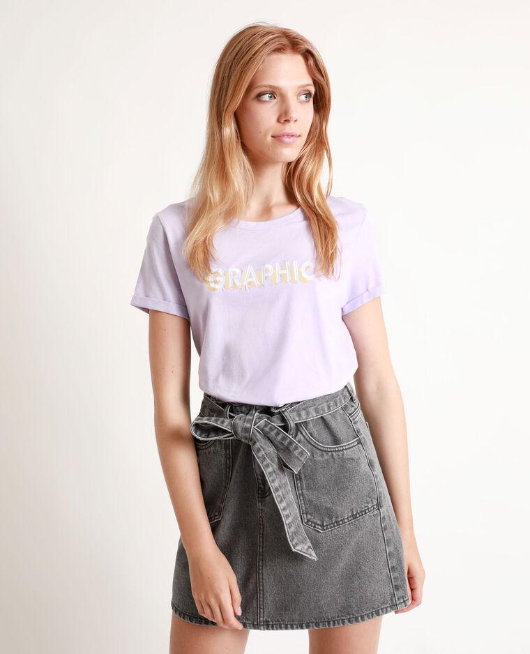 T-shirt à message lilas