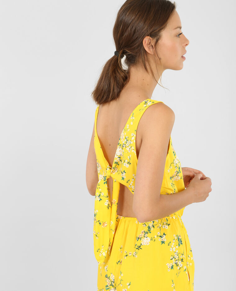 Combishort dos ouvert jaune