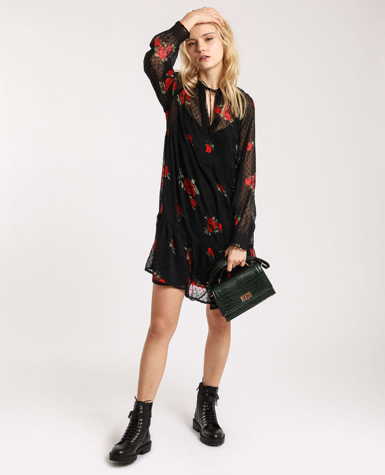 Robe à plumetis noir + rouge