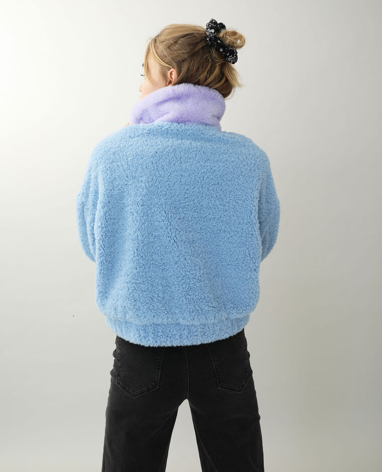 Veste peluche bleu
