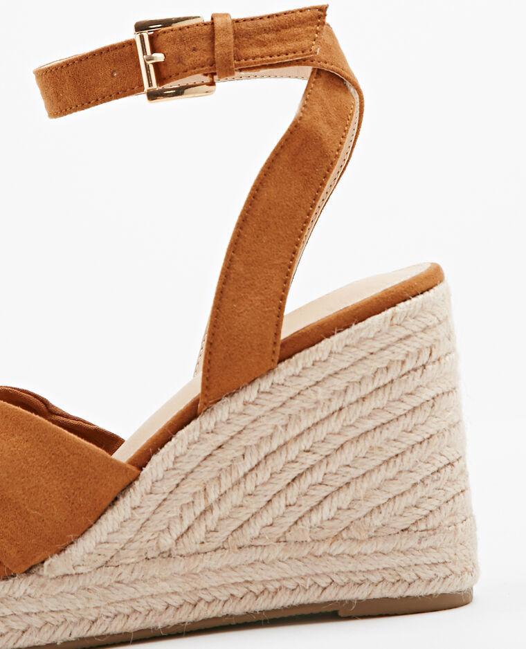 Sandales compensées en paille marron - Pimkie