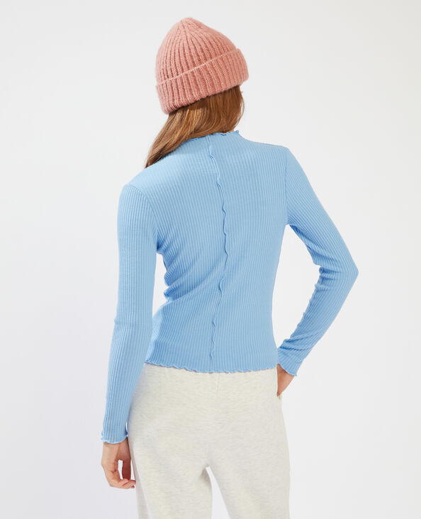 T-shirt côtelé et ondulé bleu - Pimkie