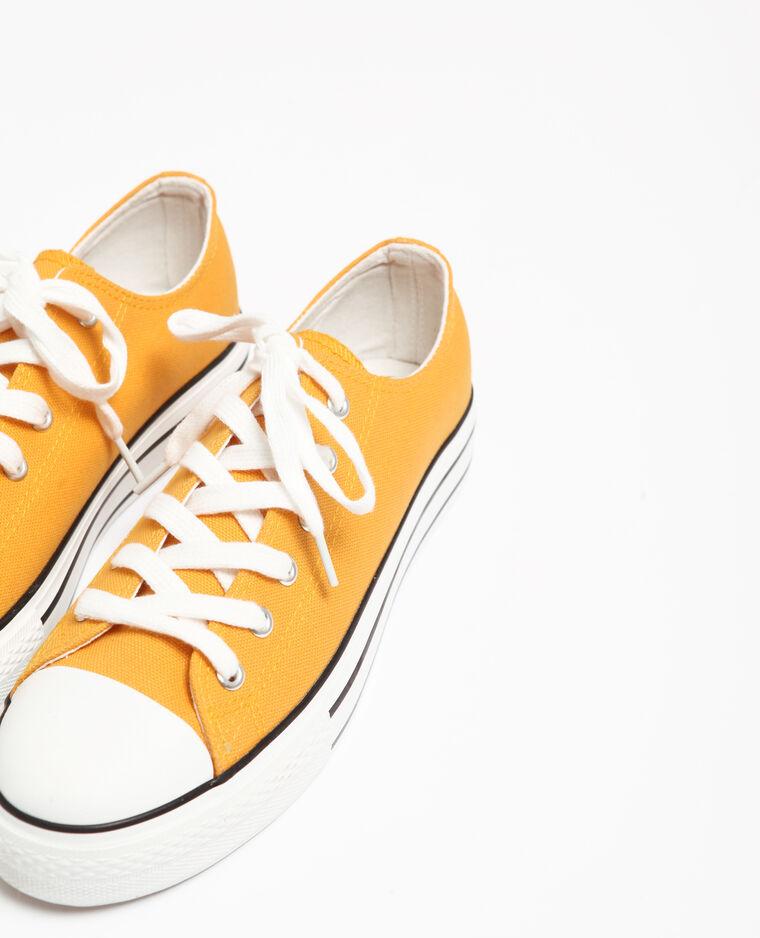 Baskets en toile jaune