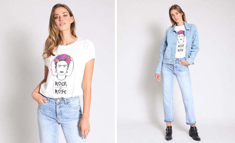 T-shirt Frida Kahlo écru