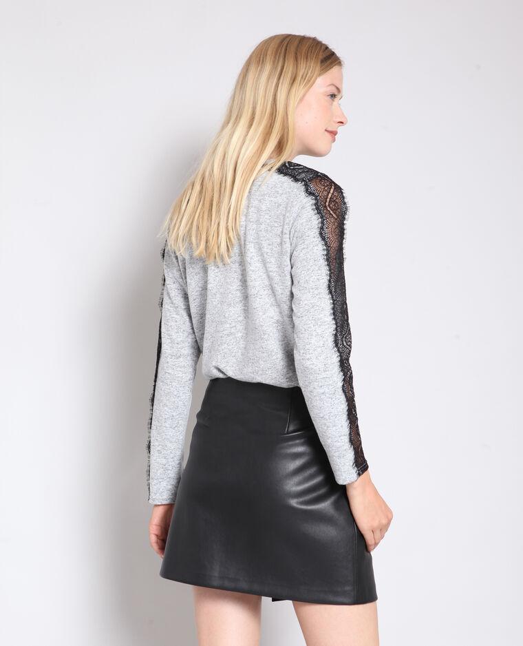 T-shirt dentelle gris chiné - Pimkie
