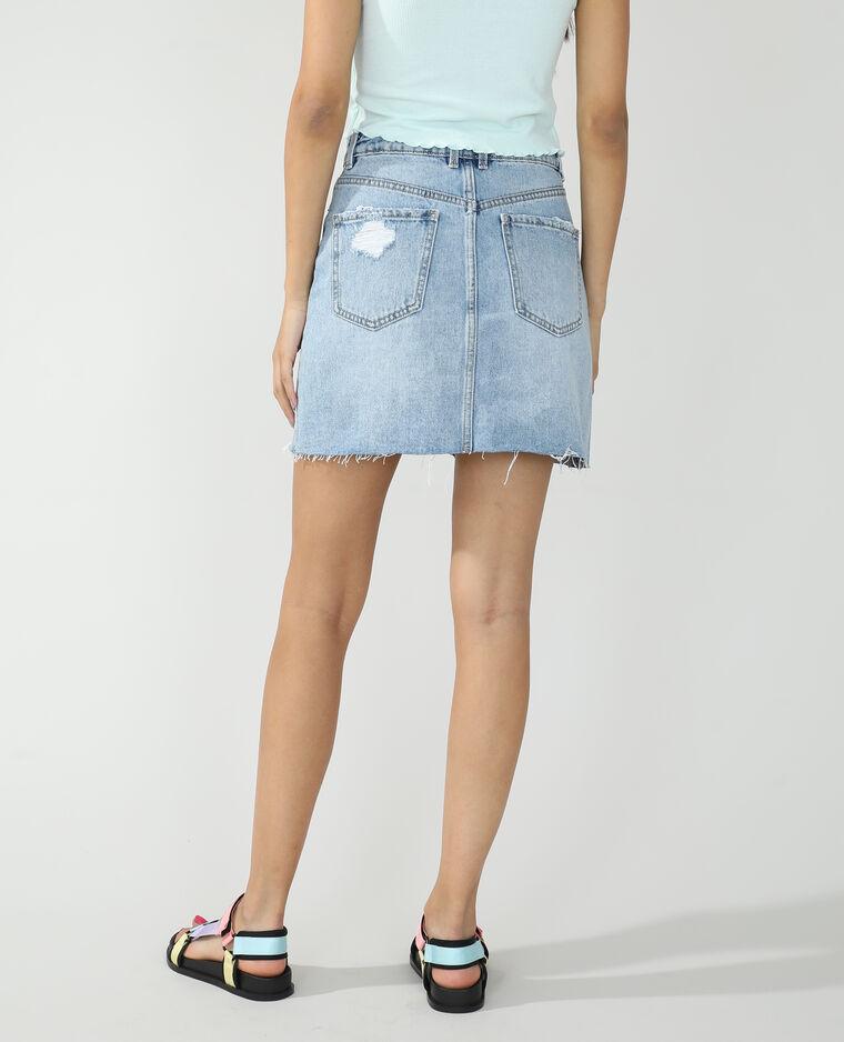 Jupe en jean destroy bleu clair - Pimkie