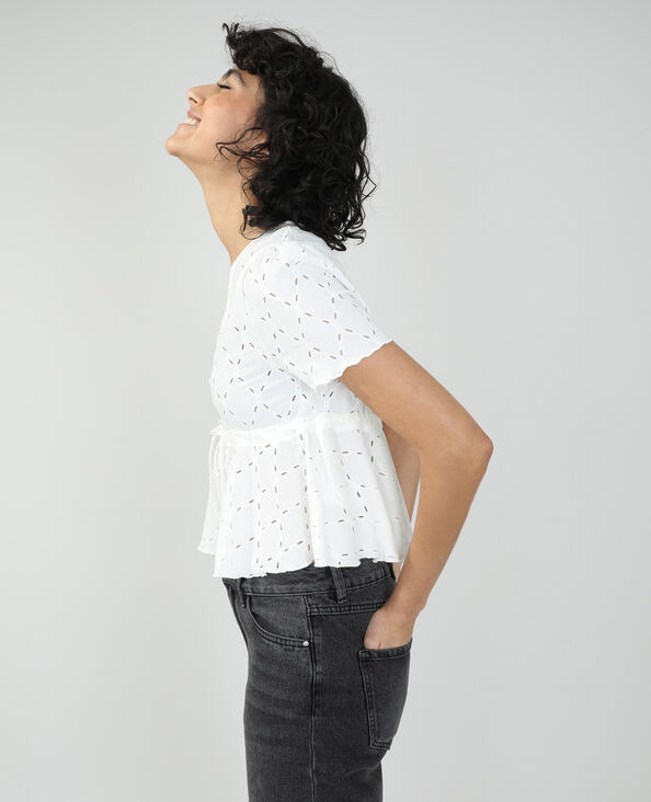 Top à motifs ajourés blanc cassé - Pimkie