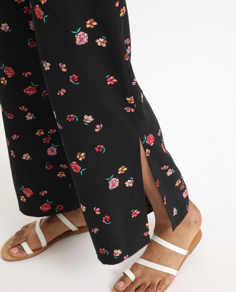 Pantalon fluide à fleurs noir + rouge - Pimkie