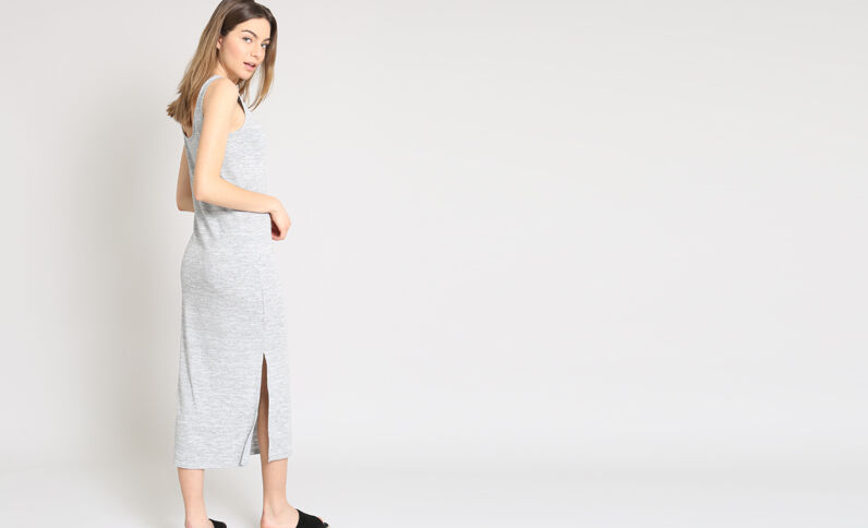 Robe longue moulante gris chiné
