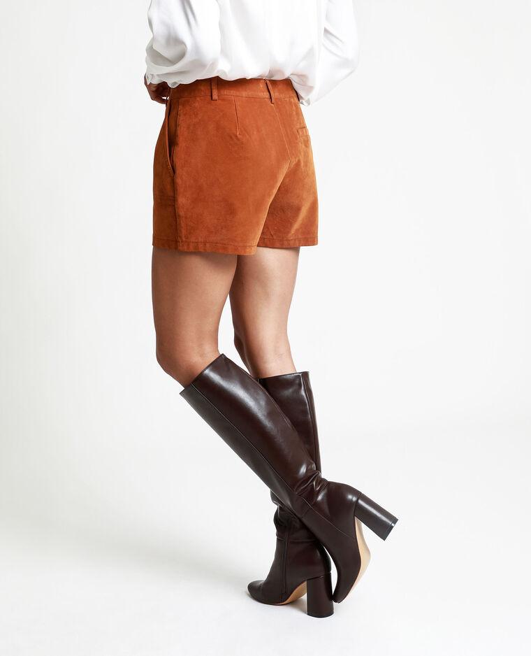 Short suédine marron