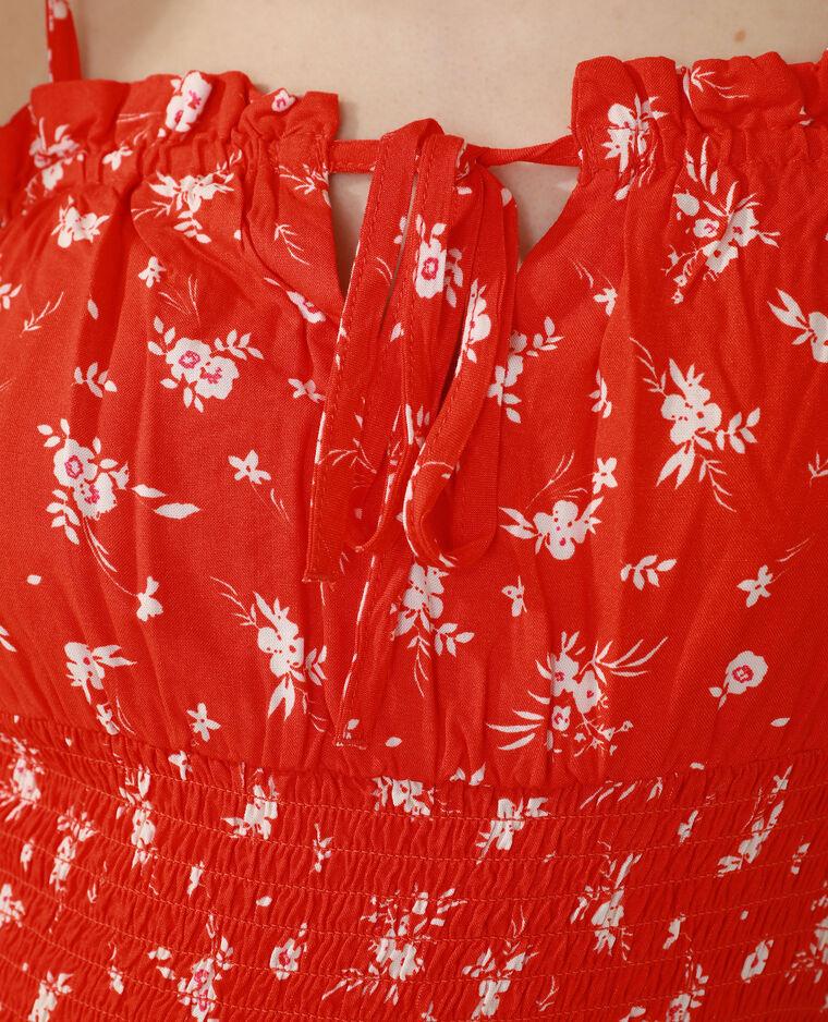 Robe fleurie et smockée rouge - Pimkie