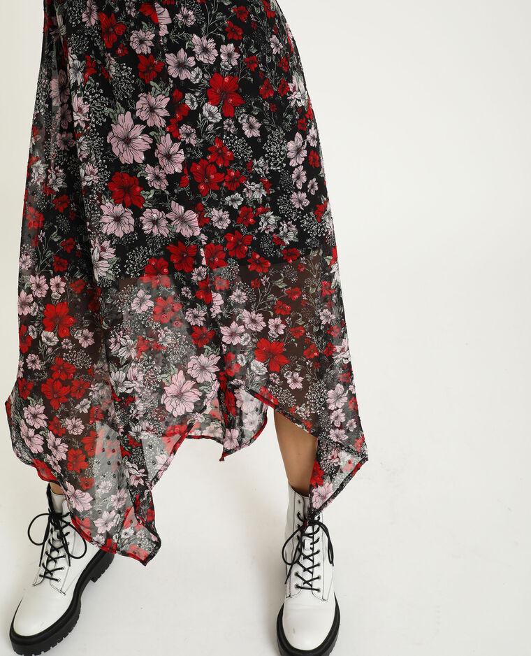 Robe longue noir + rouge