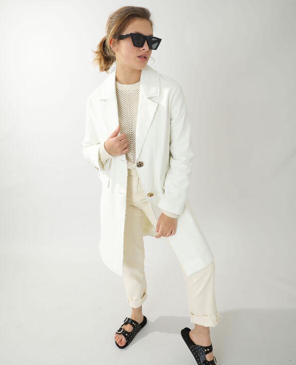 Manteau long en jean beige