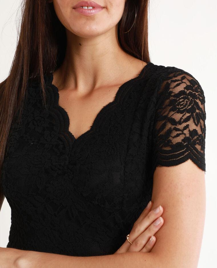 Tee-shirt en dentelle noir