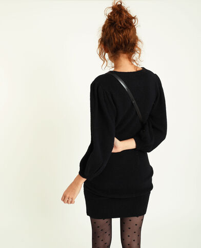 Robe pull manches bouffantes noir