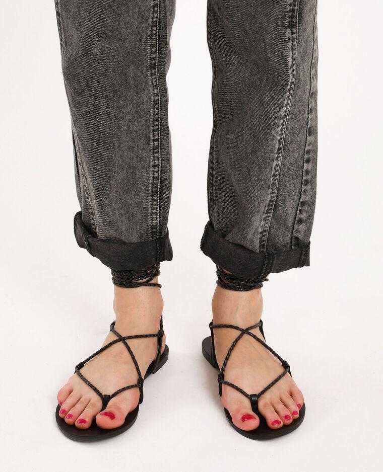Sandales plates tressées noir - Pimkie