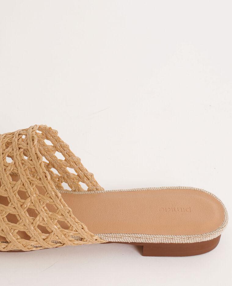 Sandales plates en rafia beige ficelle