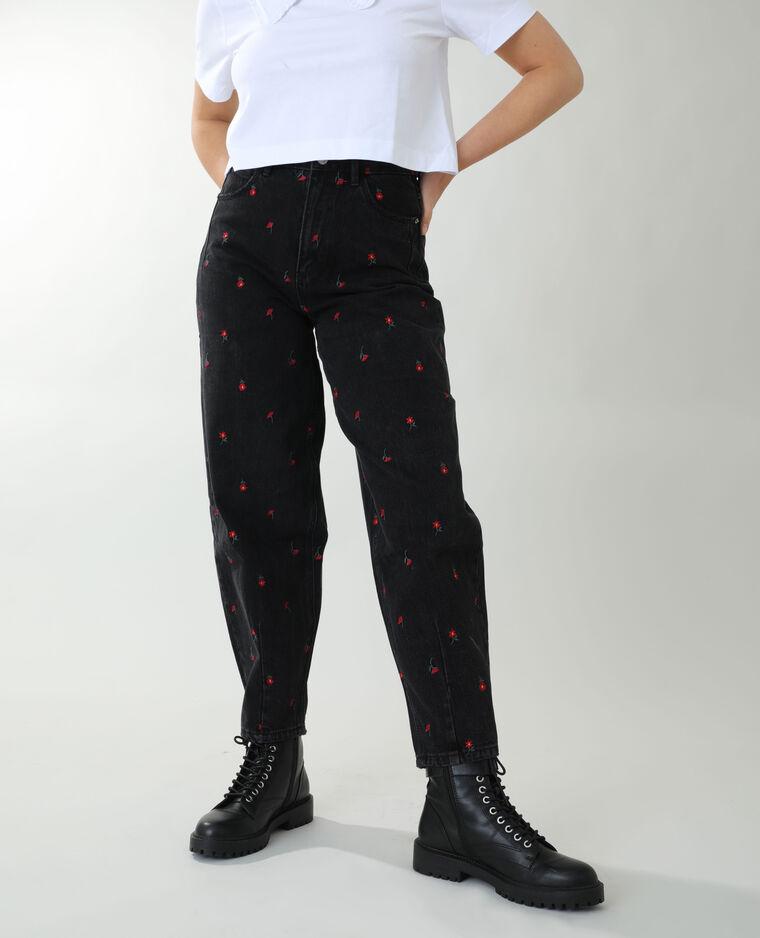 Jean slouchy fleuri noir - Pimkie