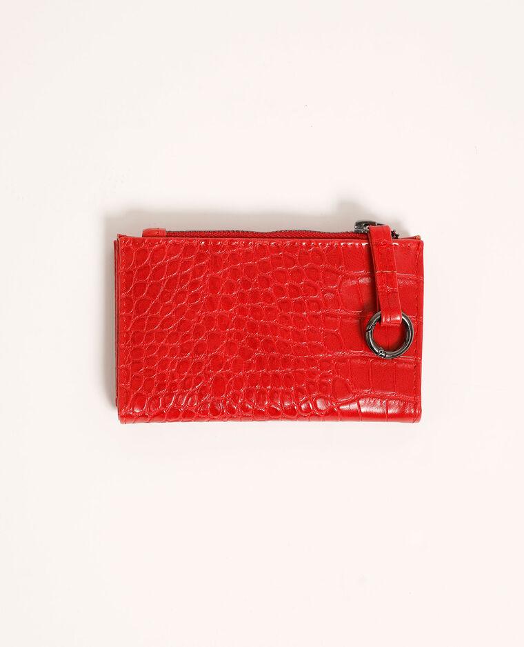 Mini portefeuille effet croco rouge - Pimkie