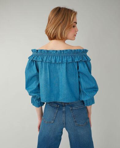 Top en jean bleu aqua