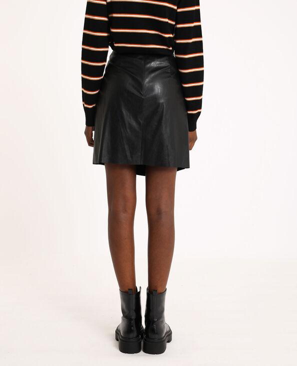 Jupe courte en simili cuir noir