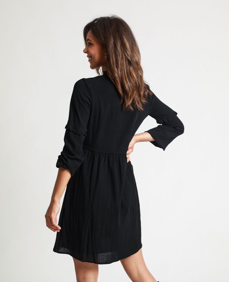 Robe chemise brodée noir - Pimkie