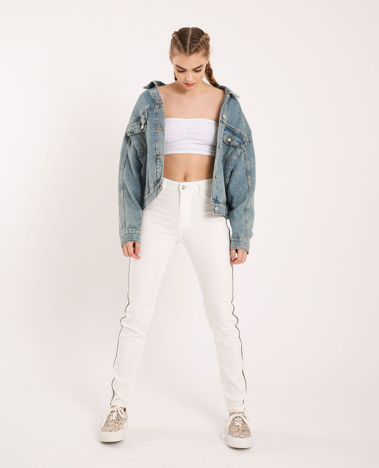 Jean skinny à strass blanc