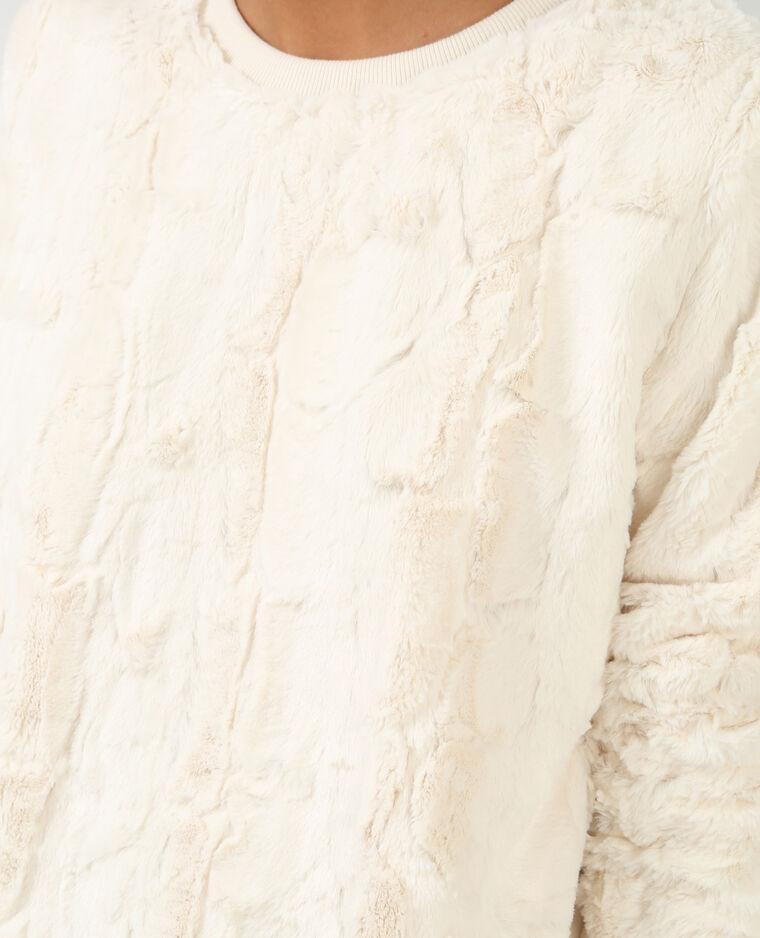 Sweat fausse fourrure blanc cassé