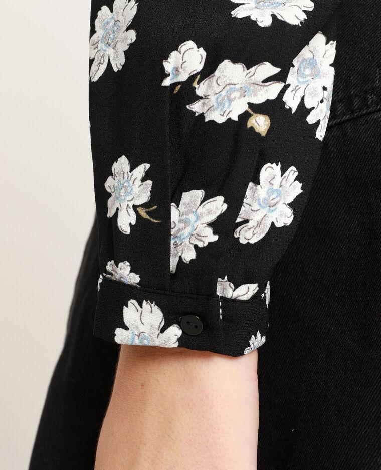 Body chemisier à fleurs noir