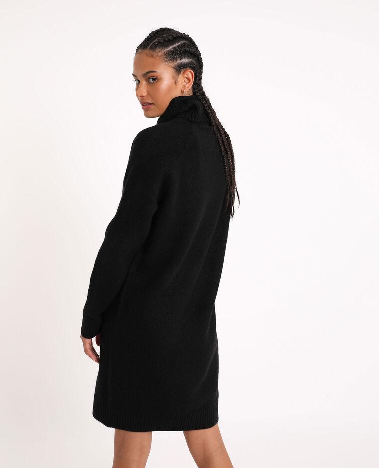 Robe pull à col roulé noir