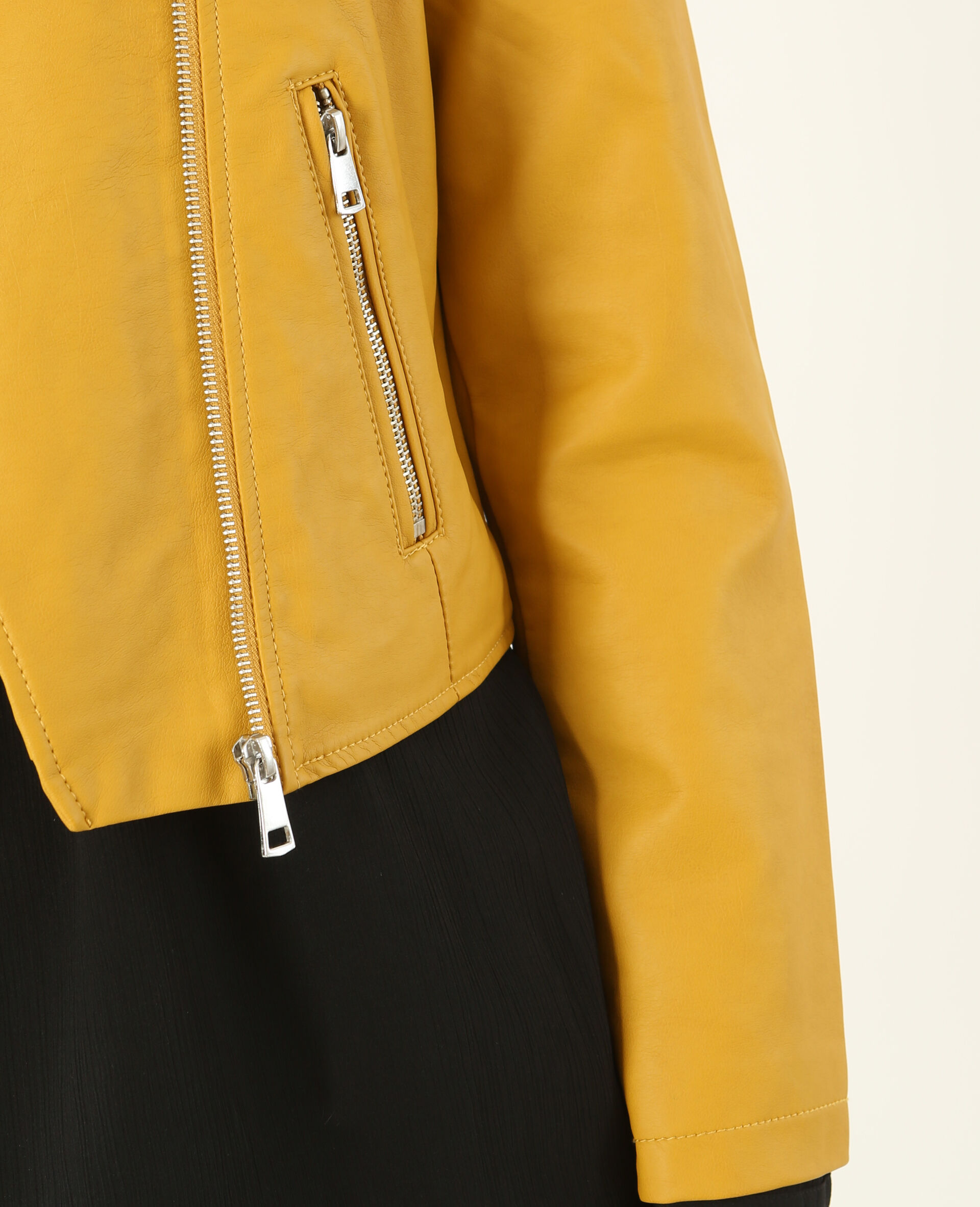 Veste simili cuir jaune moutarde