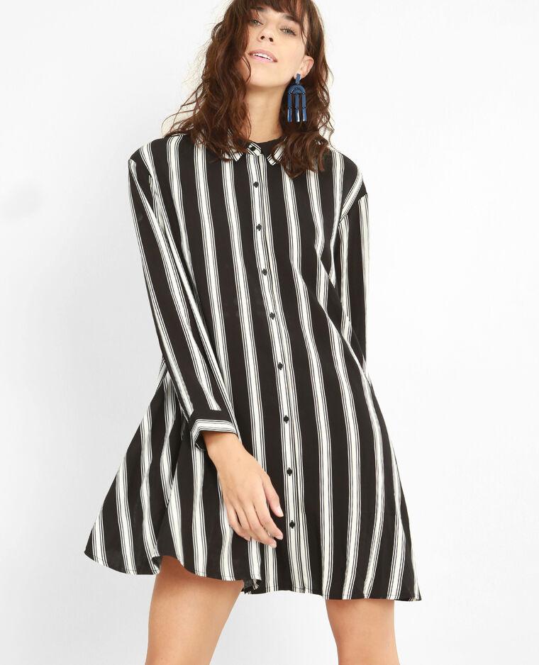Robe chemise rayée noir