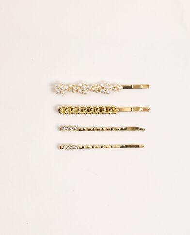 Lot de 4 barrettes à bijoux doré - Pimkie