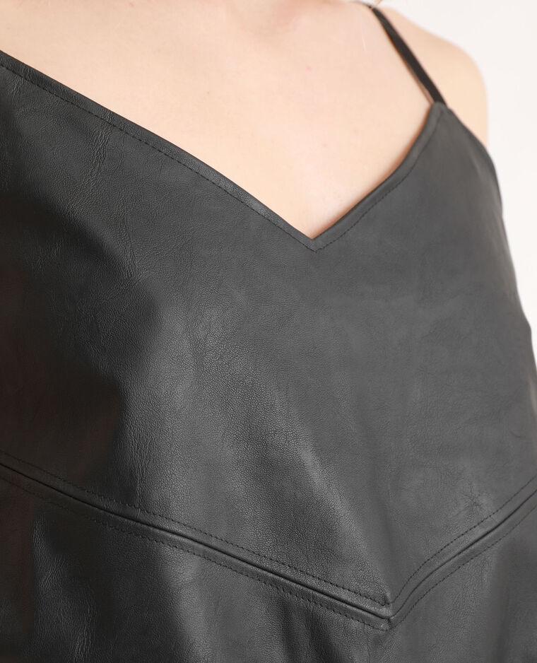 Top effet faux cuir noir