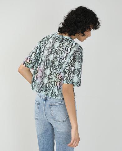 T-shirt cropped motif python violet - Pimkie
