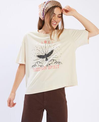 """T-shirt imprimé """" Freedom Spirit """" beige - Pimkie"""