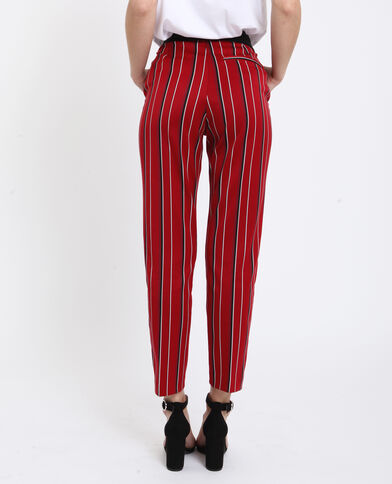 Pantalon city à imprimé rouge à rayures