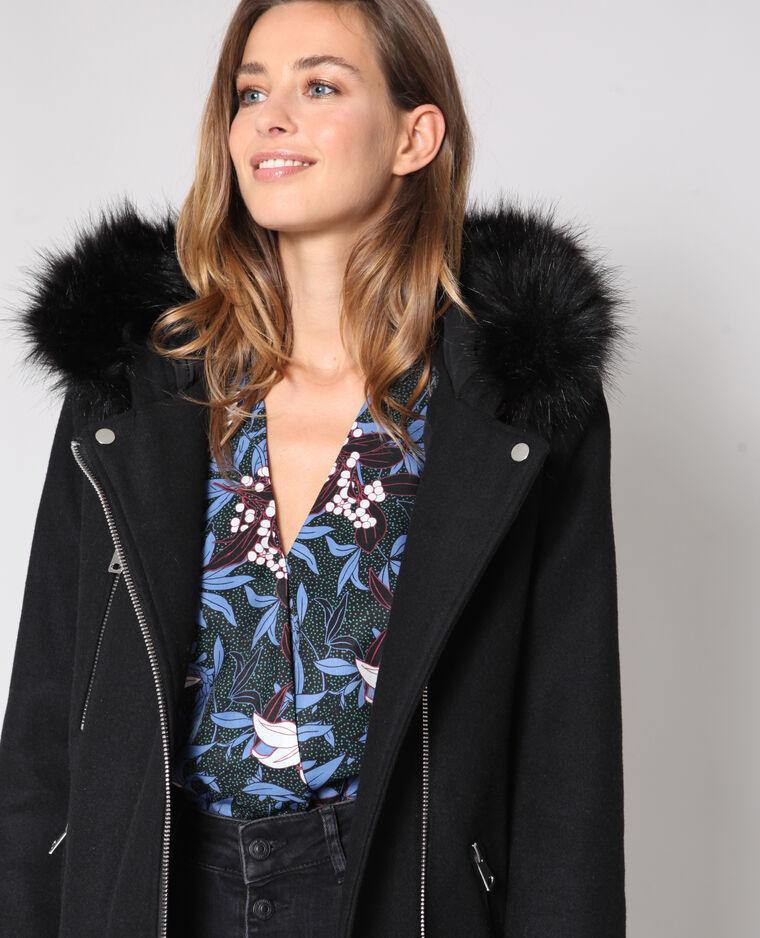 Manteau mi-long à capuche noir - 280181899A08  5b55b96e85f