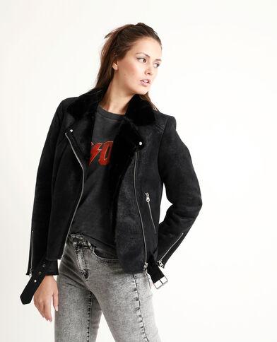 Veste style perfecto doublée noir