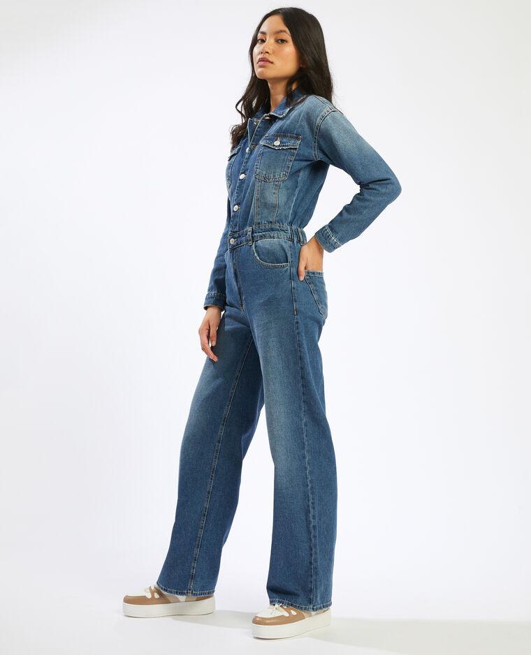 Combinaison jean à jambes larges bleu denim - Pimkie