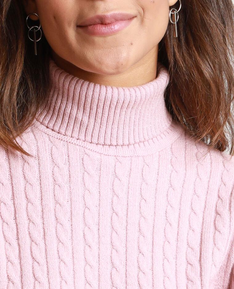 Pull à col roulé torsadé rose pastel - Pimkie