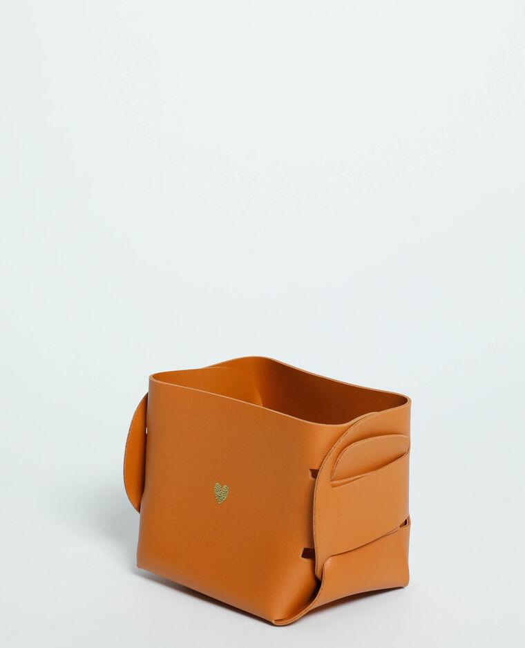 Petite box de rangement en simili cuir beige - Pimkie