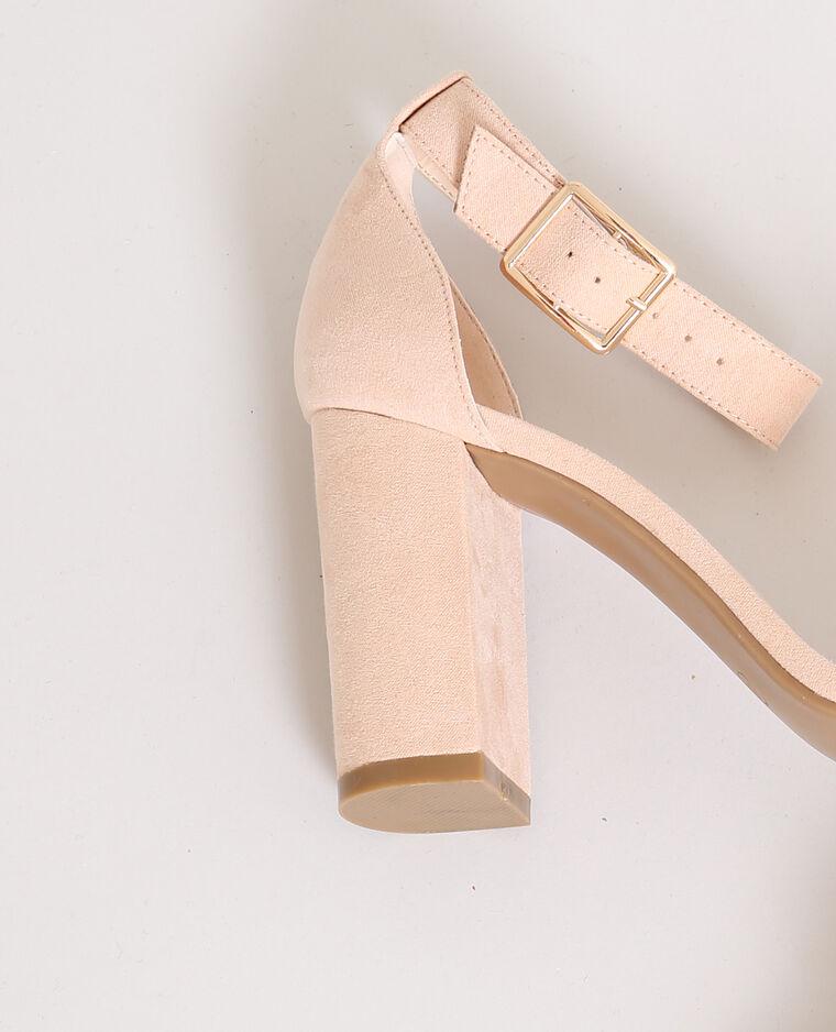 Sandales à talons rose poudré