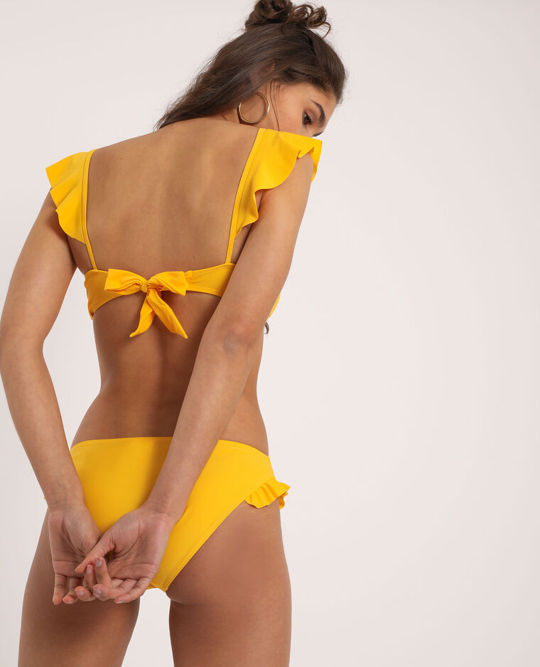 Bas de bikini à volants jaune