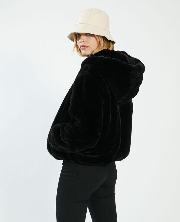 Manteau court à capuche fluffy noir - Pimkie
