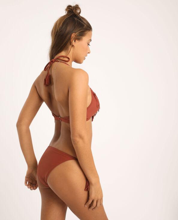 Bas de bikini à franges terracotta