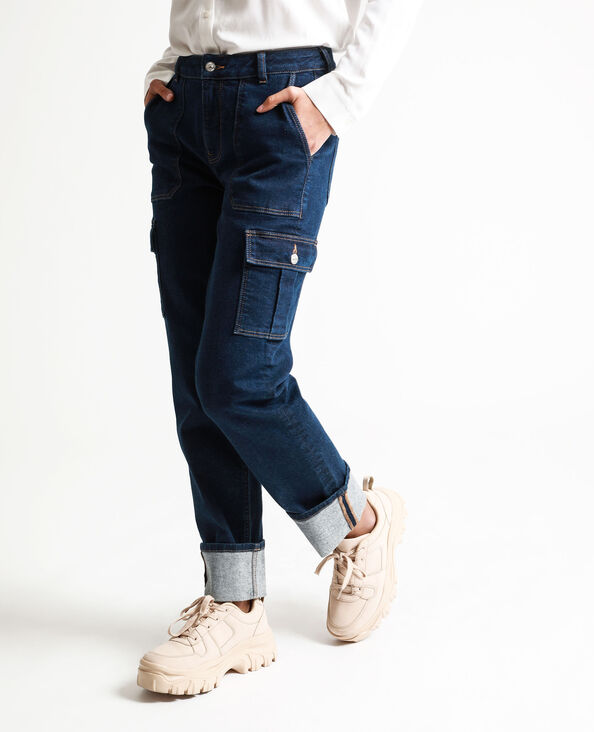 Jean style charpentier bleu foncé